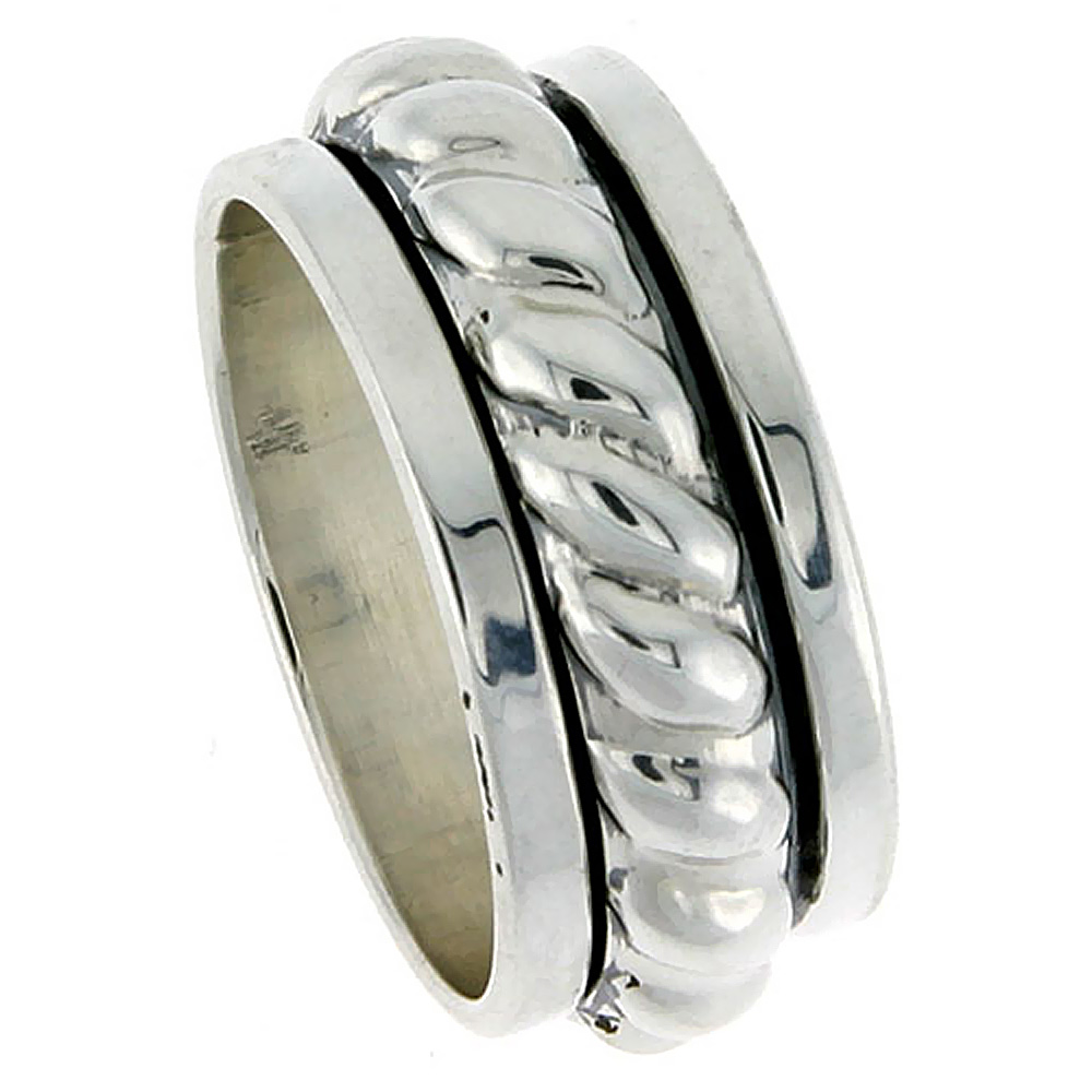 Sterling Silver Mens Spinner Ring Thick Rope Center Handmade 7/16 Wide
