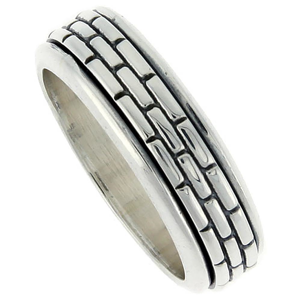 Sterling Silver Men's Spinner Ring Brick Pattern Center Handmade 5/16 wide,