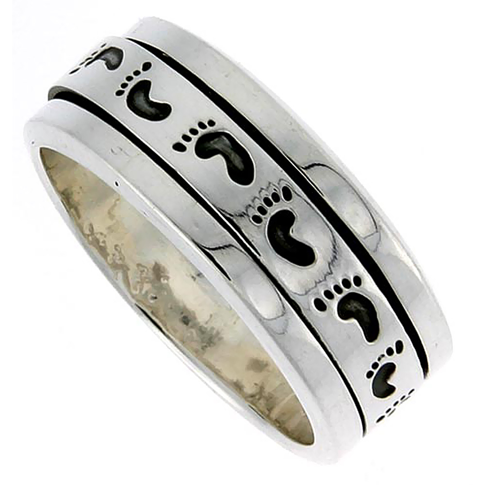 Sterling Silver Mens Spinner Ring Footprints Pattern Handmade 3/8 inch wide,