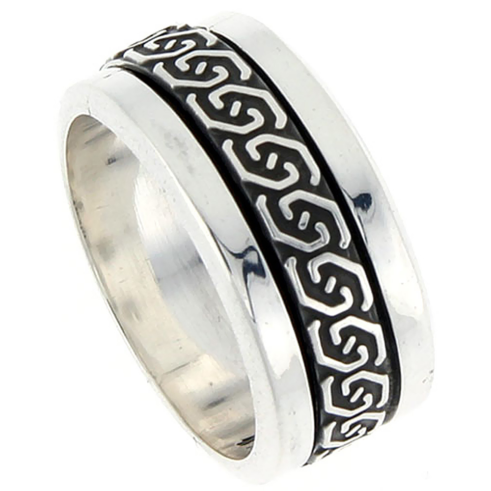 Sterling Silver Mens Spinner Ring Celtic Knot Design Handmade 3/8 inch wide,
