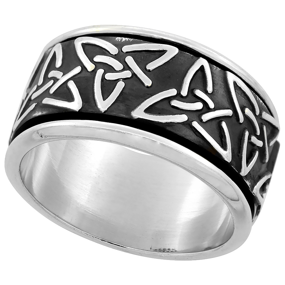 Sterling Silver Mens Spinner Ring Celtic Trinity Triquetra Pattern Handmade 1/2 inch wide,