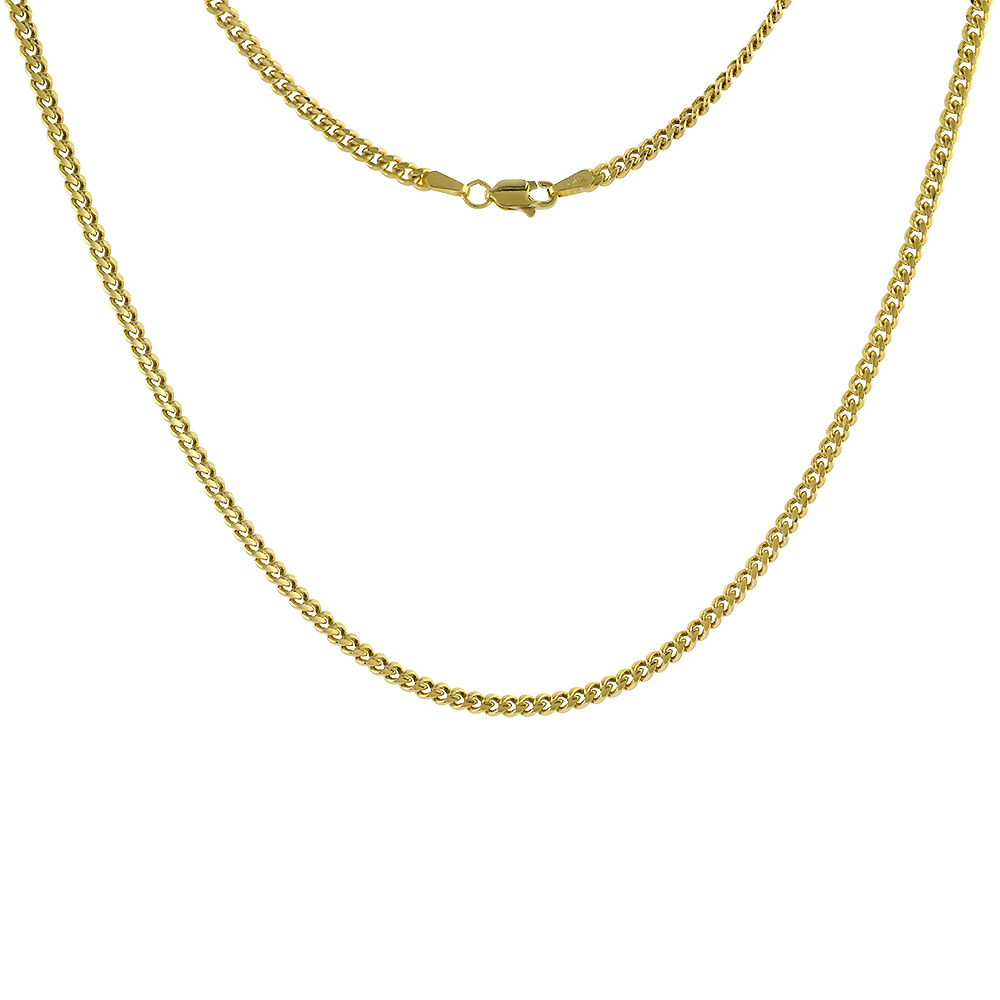 Solid 14k Gold 2.7mm Miami Cuban Link Chain Necklace for Men and Women 20-26 inch