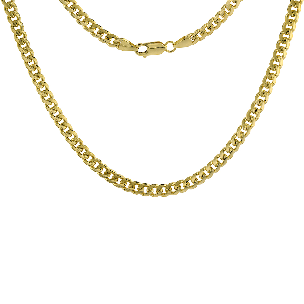Solid 14k Gold 5.5mm Miami Cuban Link Chain Necklace for Men and Women 22-30 inch