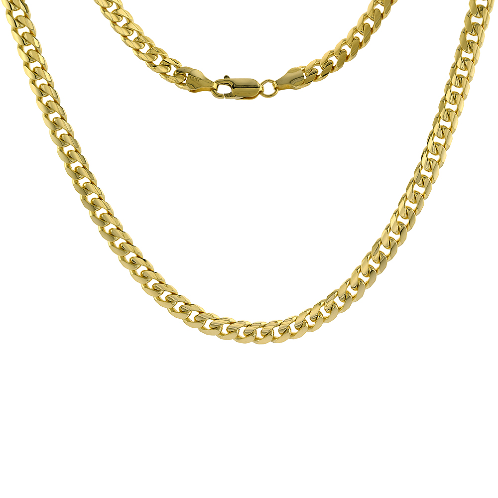 Solid 14k Gold 6mm Miami Cuban Link Chain Necklace for Men and Women 24-30 inch