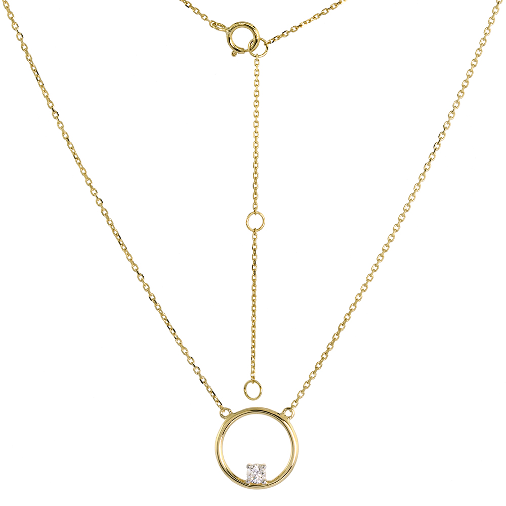 14k Yellow Gold Diamond Open Circle Necklace Karma Circle of Life 16-18 inch