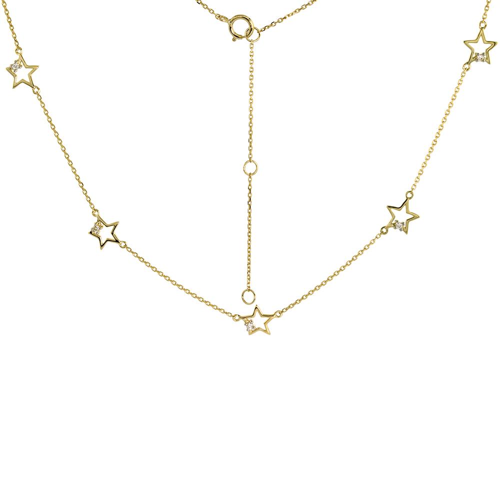Dainty 14k Yellow Gold Diamond Star Station Necklace 16-18 inch