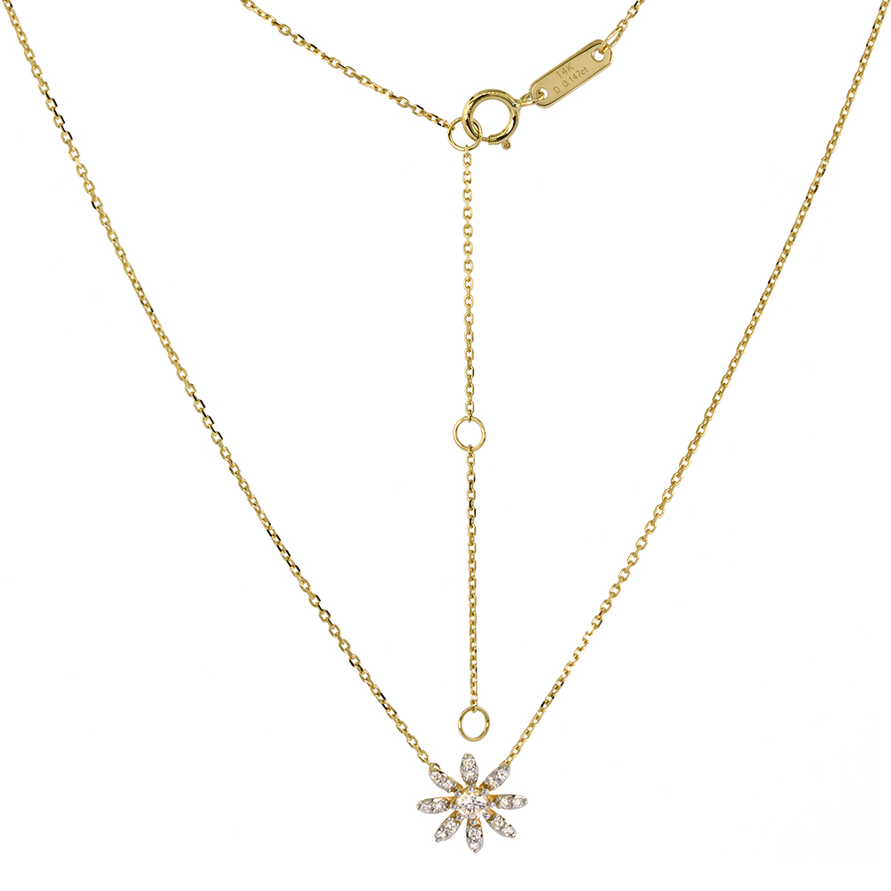 Tiny 14k Yellow Gold Diamond Daisy Flower Necklace 16-18 inch 0.16 cttw