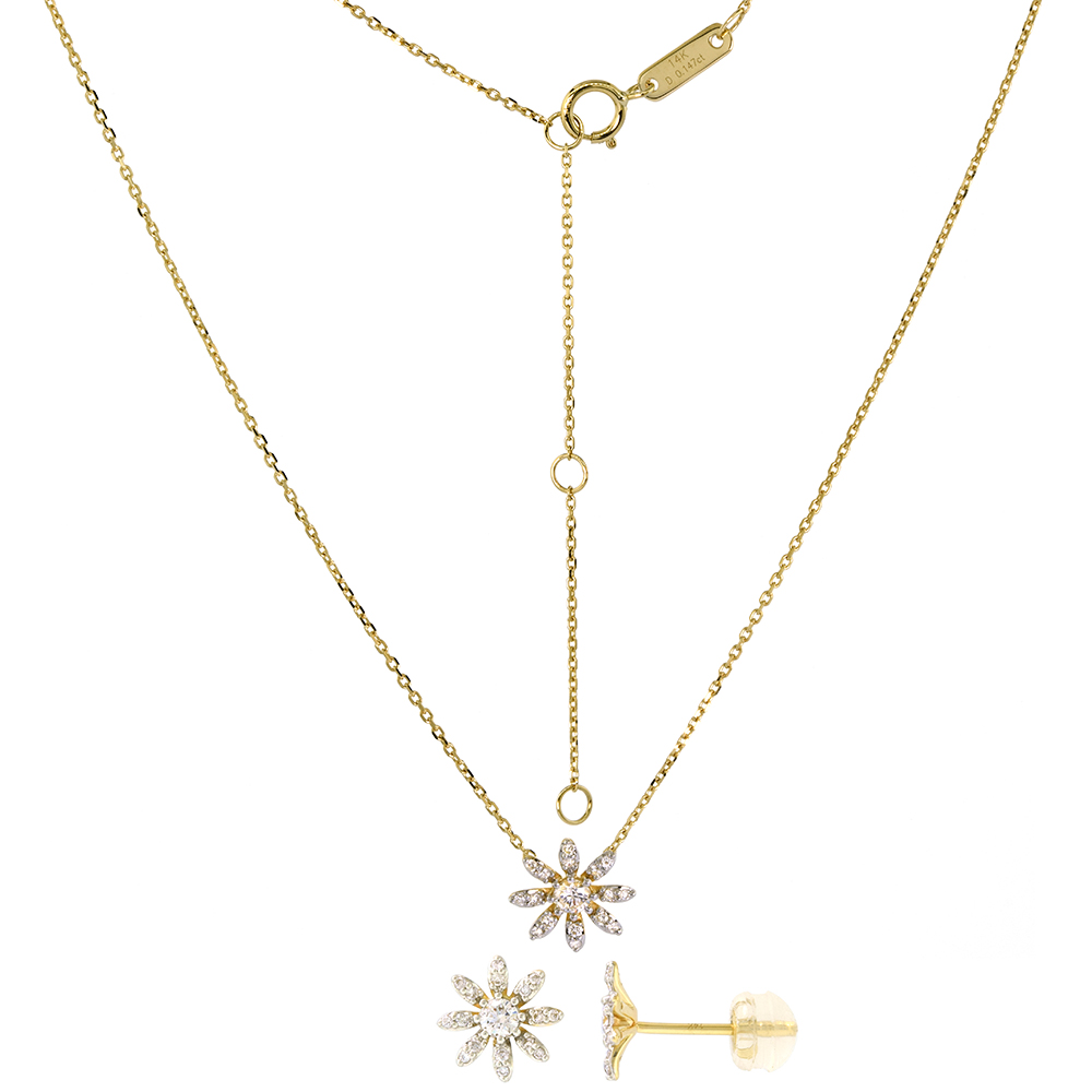 Tiny 14k Yellow Gold Diamond Daisy Flower Earrings Necklace Set 0.58 cttw