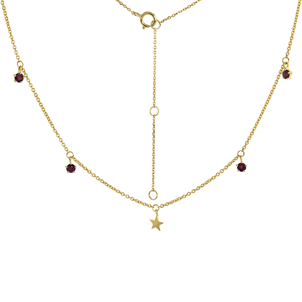 Dainty 14k Yellow Gold Dangling Star Necklace Genuine Ruby 16-18 inch