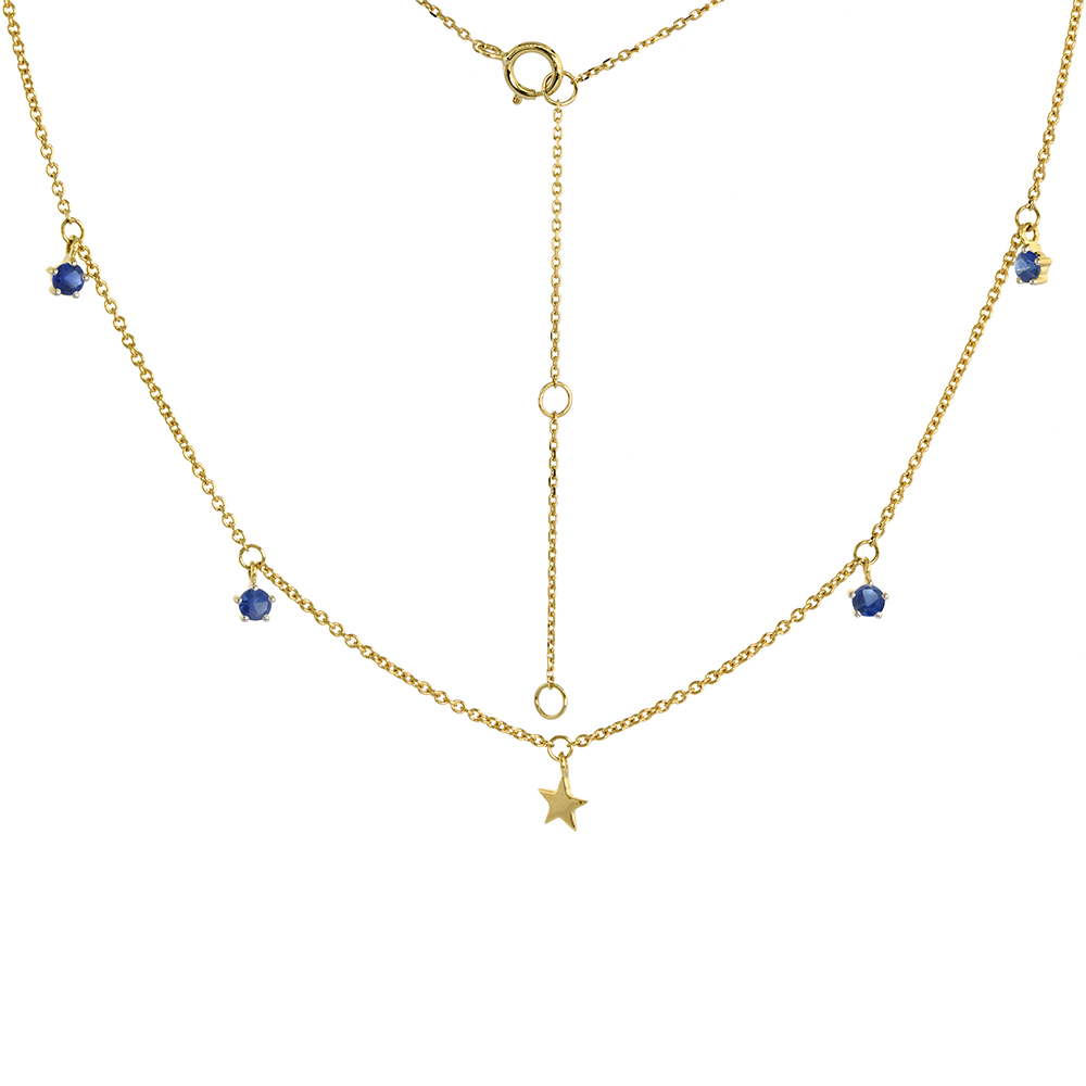 Dainty 14k Yellow Gold Dangling Star Necklace Genuine Blue Sapphire 16-18 inch