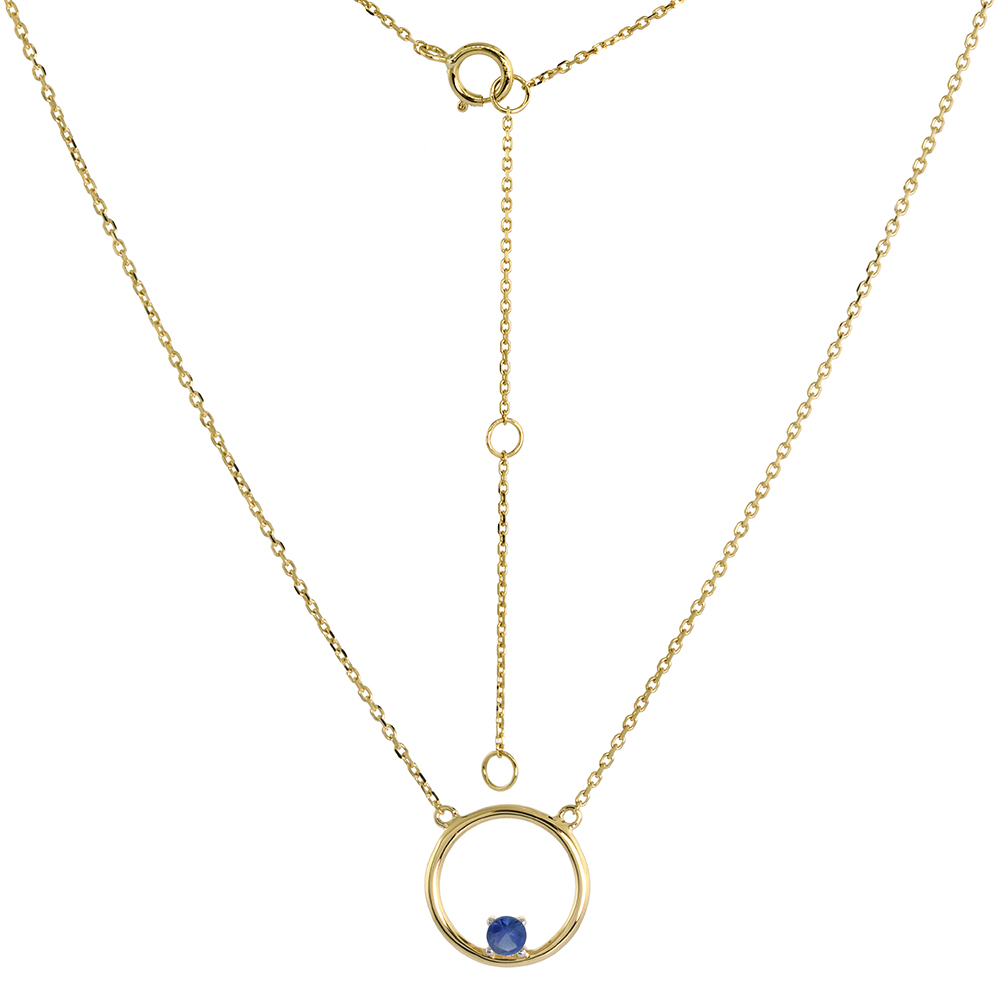 14k Yellow Gold Open Circle Necklace Karma Circle of Life Genuine Blue Sapphire 16-18 inch