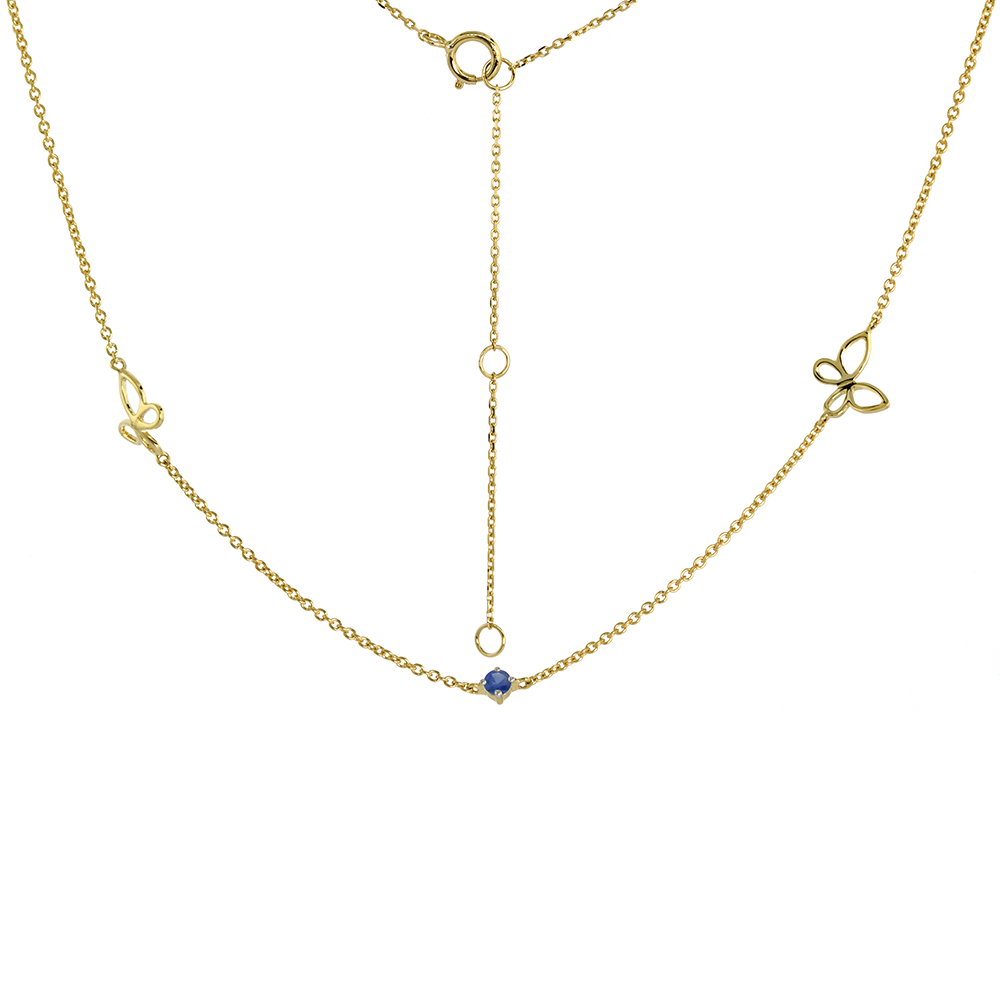 Dainty 14k Yellow Gold Genuine Blue Sapphire & Butterfly Station Necklace 16-18 inch