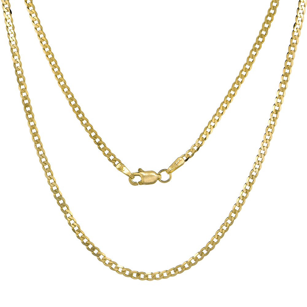 14K Solid Yellow Gold CURB Chain Necklace Concave 2.3 - 12.25 mm Nickel Free, 16 - 30 inches long