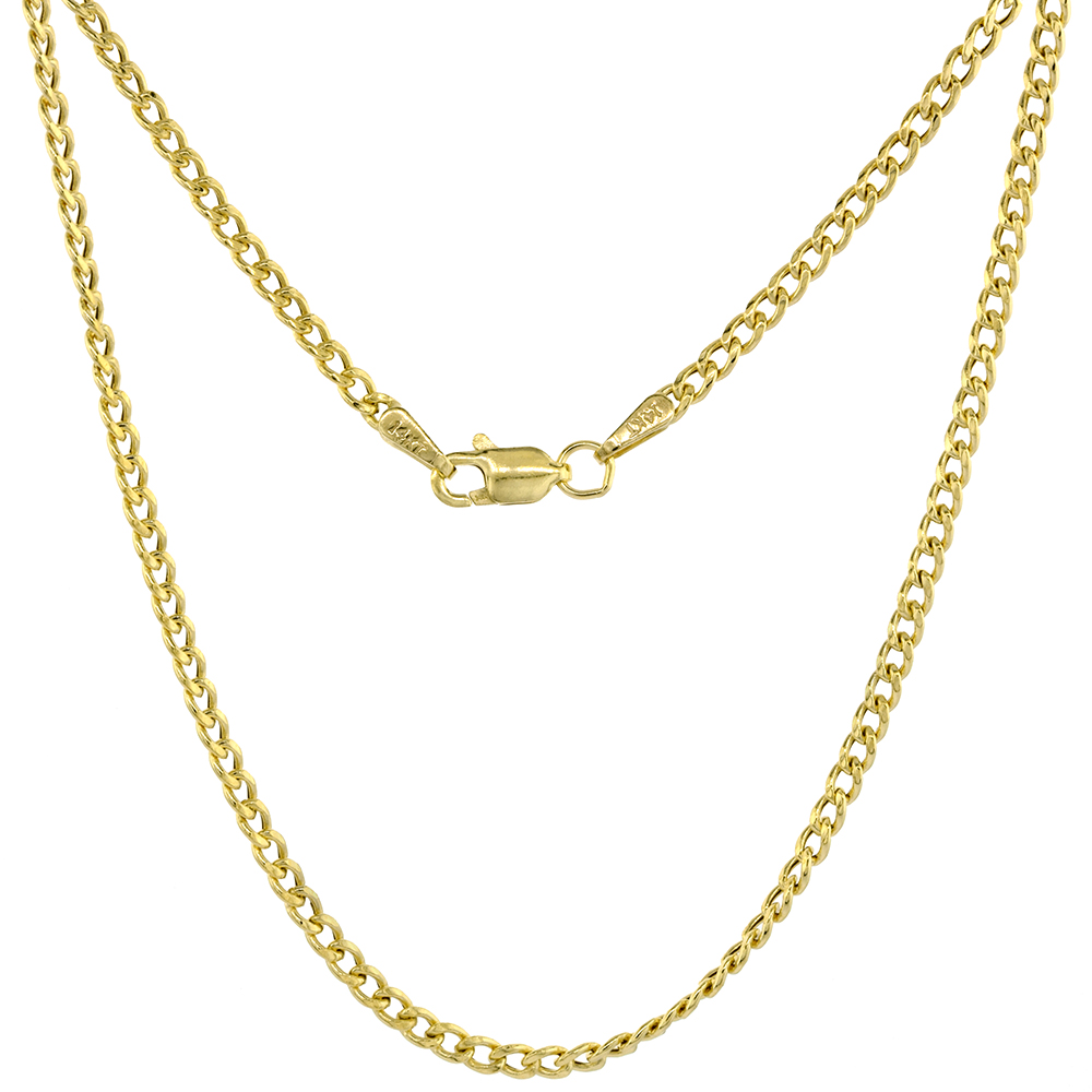 Hollow 14k Gold 2mm Miami Cuban Link Chain Necklace for Women & Men High Polished 16-24 inch