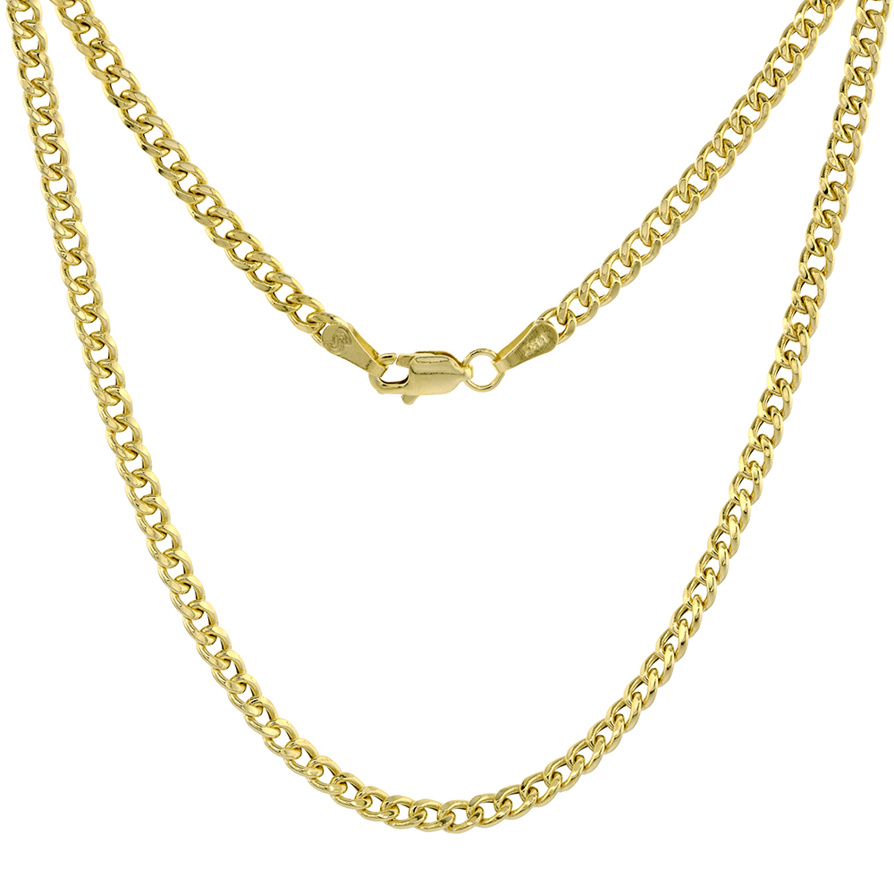 Hollow 14k Gold 3mm Miami Cuban Link Chain Necklace for Women & Men High Polished 7 8 18-28 inch