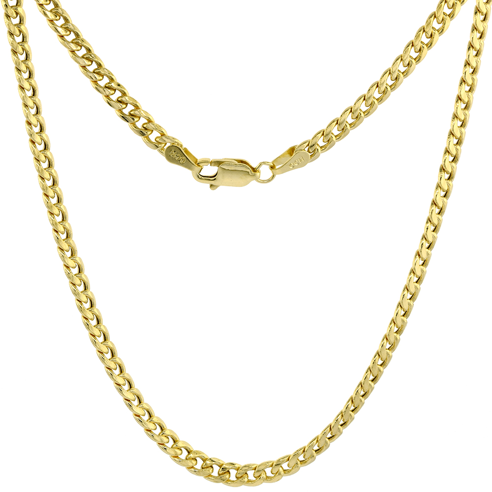 Hollow 14k Gold 3.5mm Miami Cuban Link Chain Necklace for Men & Women High Polished 22-30 inch