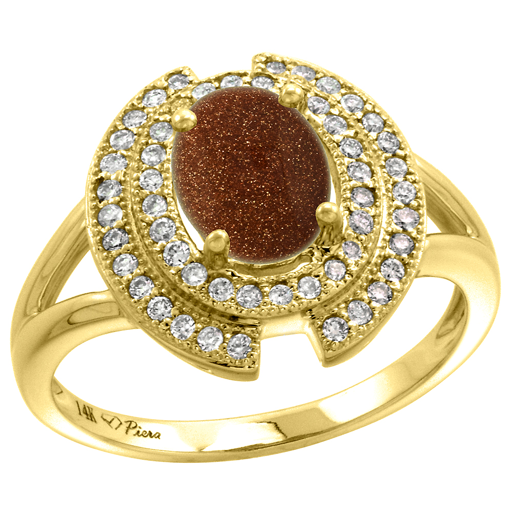 14k Yellow Gold Diamond Halo Genuine Goldstone Engagement Ring Oval 8x6mm, size 5-10