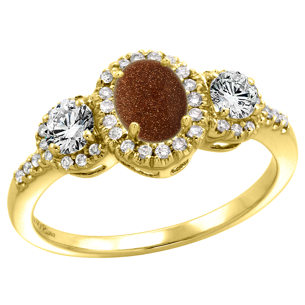 14k Yellow Gold Diamond Genuine Goldstone Halo Engagement Ring Oval 7x5mm, size 5-10
