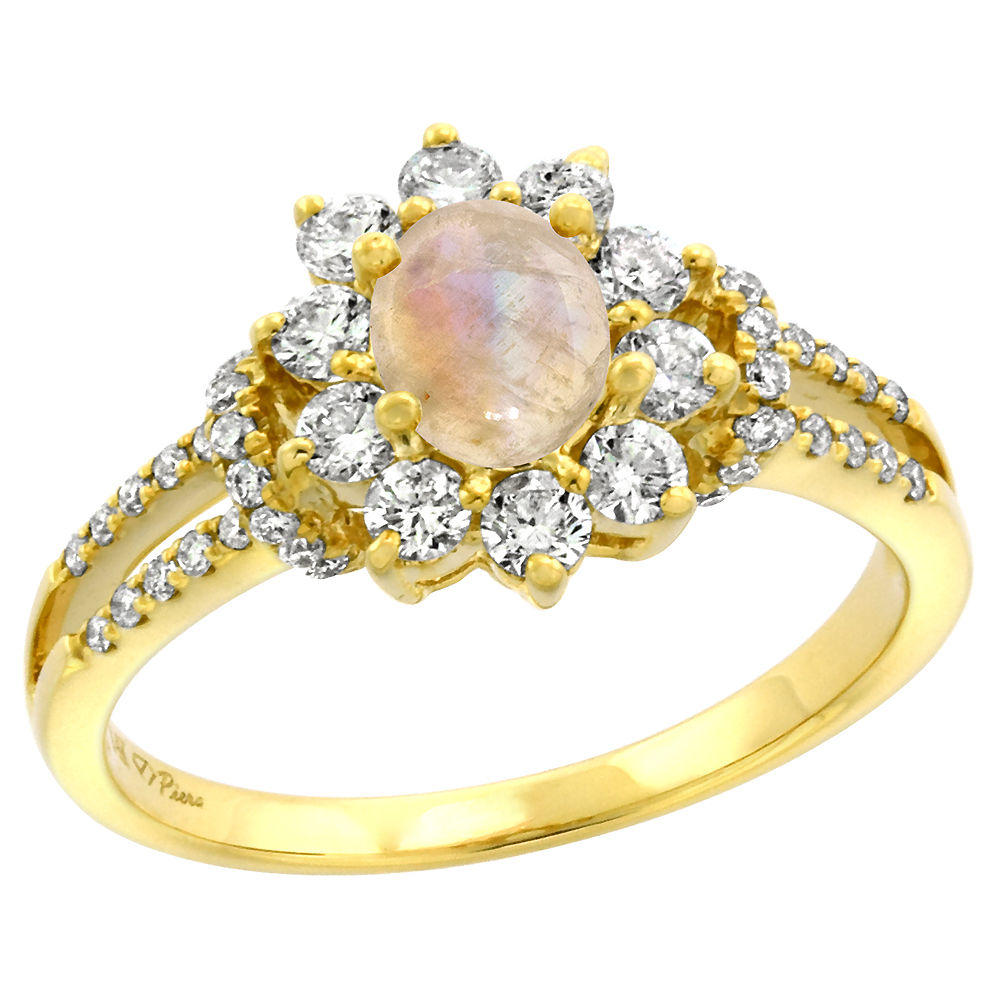 14k Yellow Gold Diamond Genuine Rainbow Moonstone Halo Engagement Ring Oval 7x5mm, size 5-10