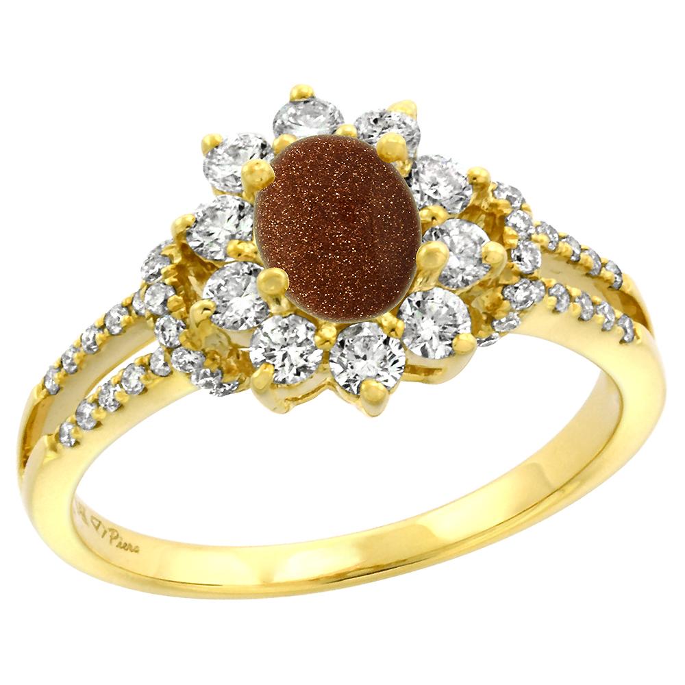 14k Yellow Gold Diamond Genuine Goldstone Halo Engagement Ring Oval 7x5mm, size 5-10