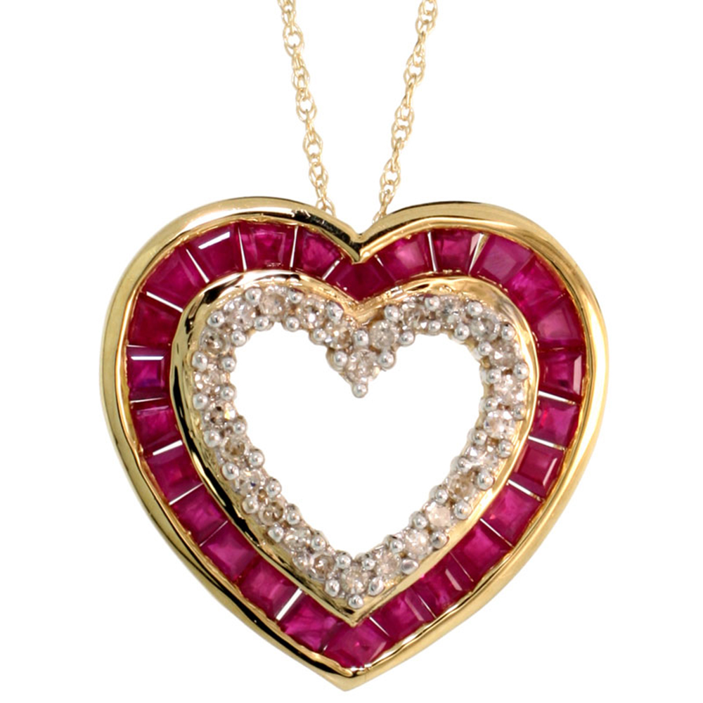14k Gold Genuine Ruby Open Heart Necklace Diamond Accent 7/8 inch 18 inch thin Chain