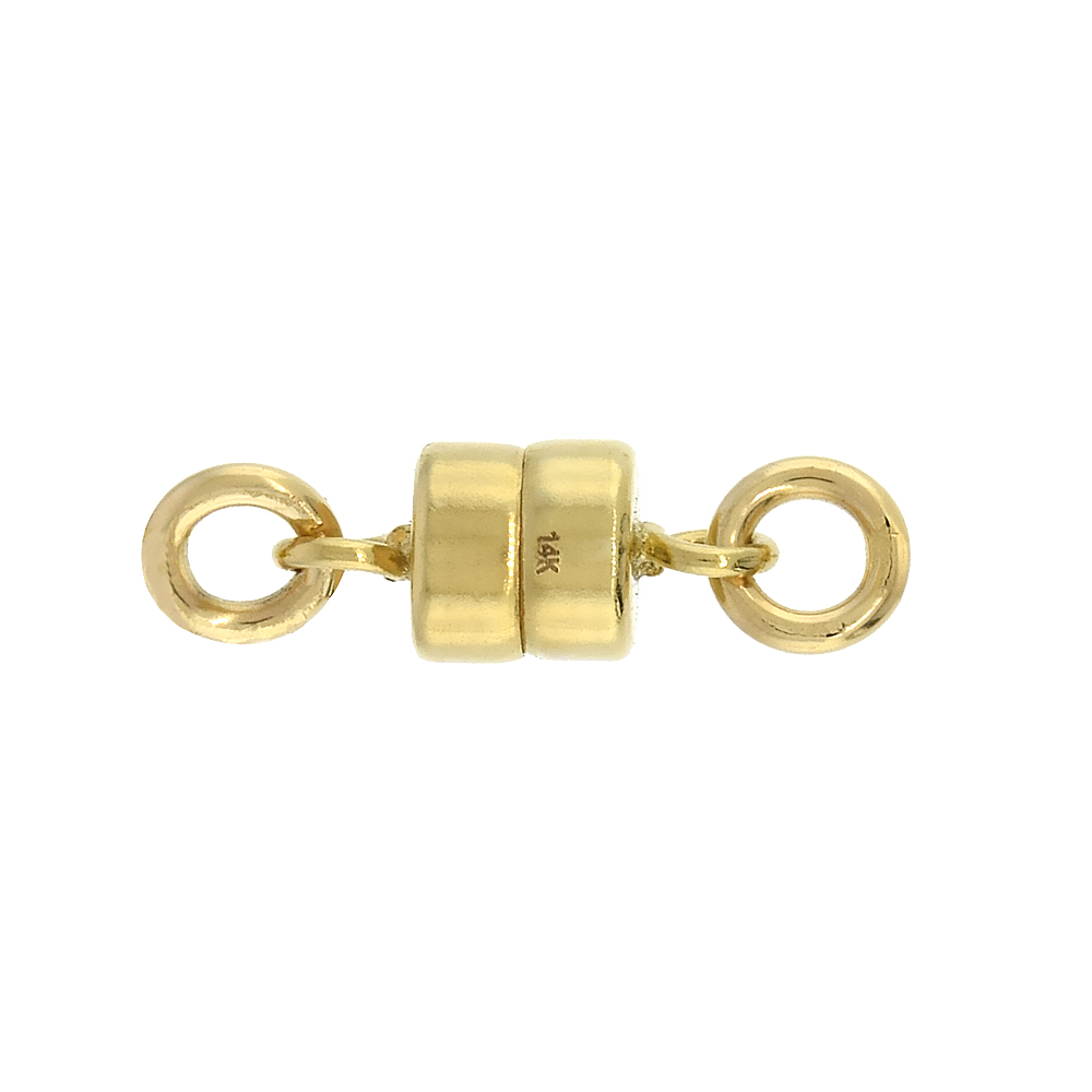 14k Gold 4 mm Magnetic Clasp for Light Necklaces USA, Square Edge