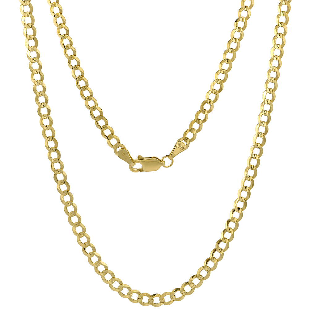 10K Yellow Gold Curb Link Chain Necklace Concaved Beveled Edges 3.9mm 18 - 28 inch