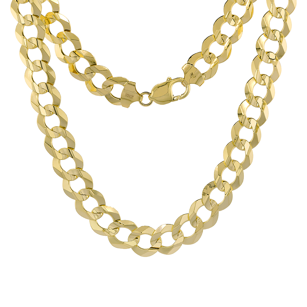 10K Yellow Gold Curb Link Chain Necklace Concaved Beveled Edges 12.2mm 22 - 30 inch