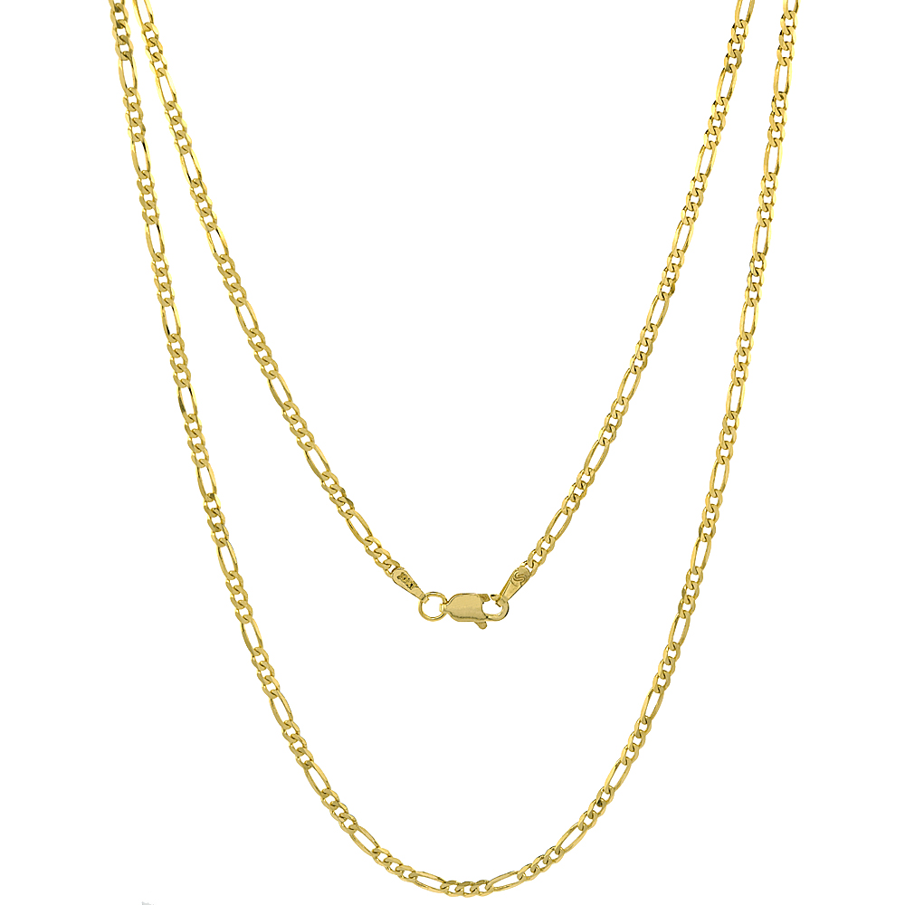 10K Solid Yellow Gold Figaro Chain Necklace Concave 2.23 mm Nickel Free, 16 - 26 inches long