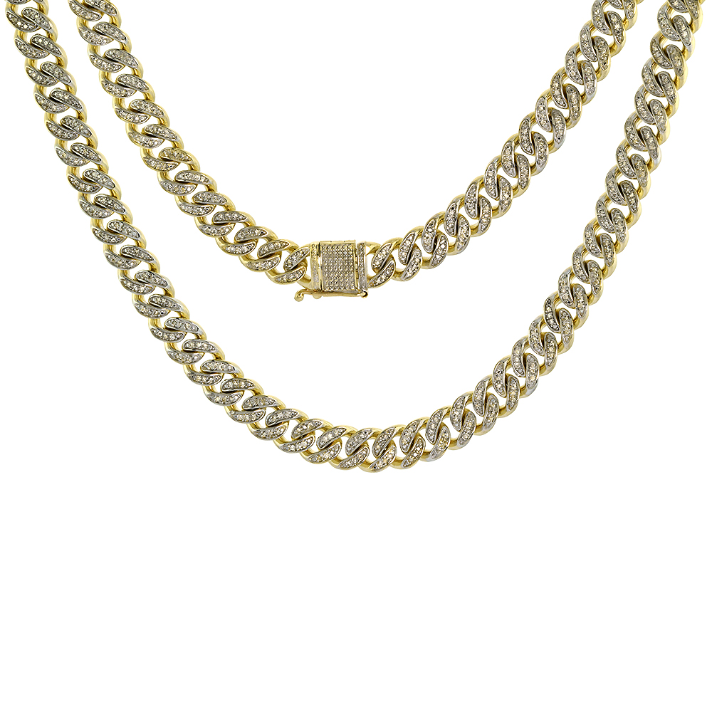 10k Solid Yellow Gold 8.5mm Diamond Miami Cuban Chain Necklace Nickel Free 26 - 28.5 inch long