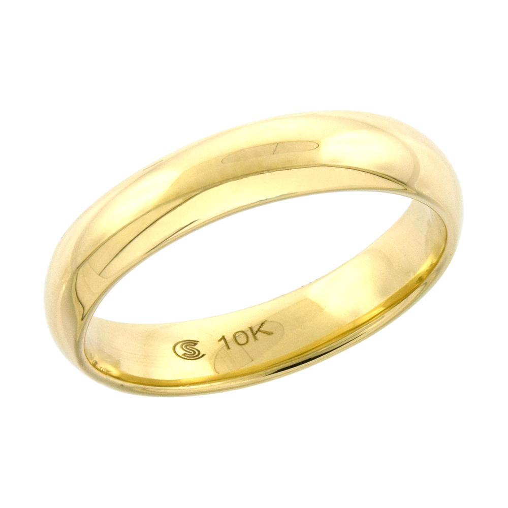 10k Yellow Gold Wedding Band 3.7 mm Thumb Ring Hollow Comfort Fit, sizes 5 - 9.5