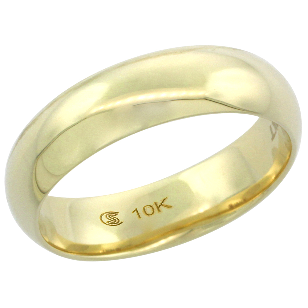 10k Yellow Gold Wedding Band 5.7 mm Thumb Ring Hollow Comfort Fit, sizes 9 - 13.5
