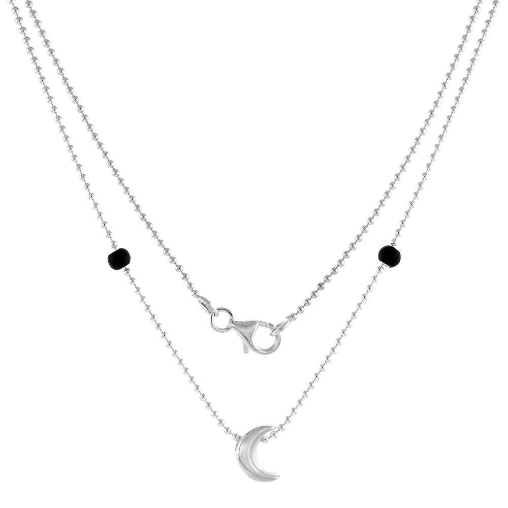 Sterling Silver Necklace / Bracelet with a Moon Slide