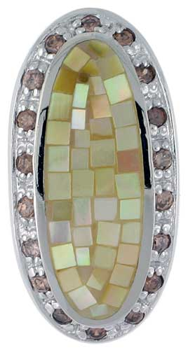 Sterling Silver Natural Shell Mosaic & CZ Outline Pendant Oval, 1/2 inch wide
