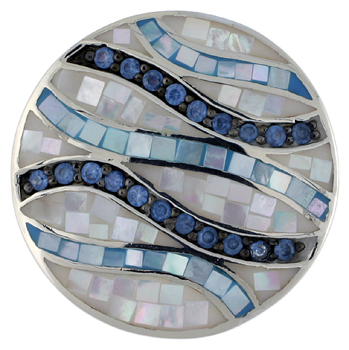 Sterling Silver Natural Shell Mosaic & CZ Ribbon Stripe Pendant Round, 1 1/8 inch wide