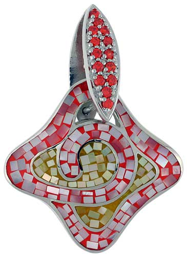 Sterling Silver Natural Shell Mosaic Quatrefoil Pendant CZ Accent, 1 1/4 inch wide