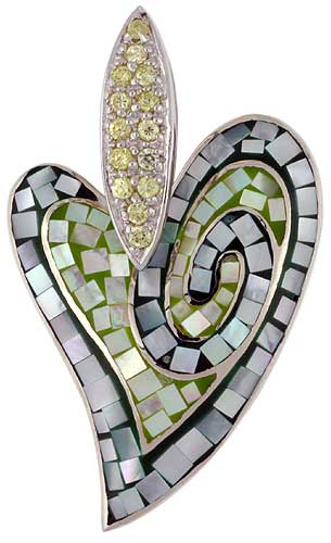 Sterling Silver Natural Shell Mosaic Heart Pendant CZ Accent, 1 1/16 inch wide