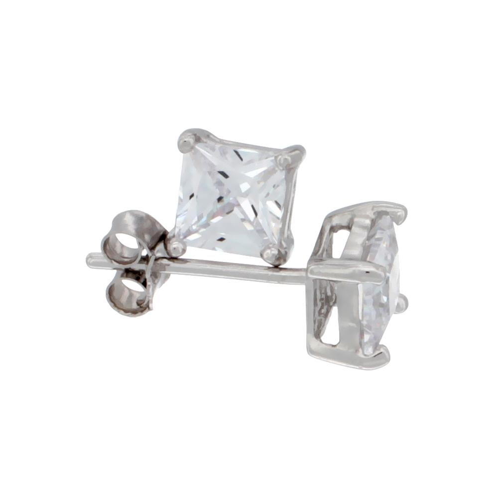 Sterling Silver Cubic Zirconia Square Earrings Studs 5 mm Princess cut Basket Setting 1.5 carat/pair