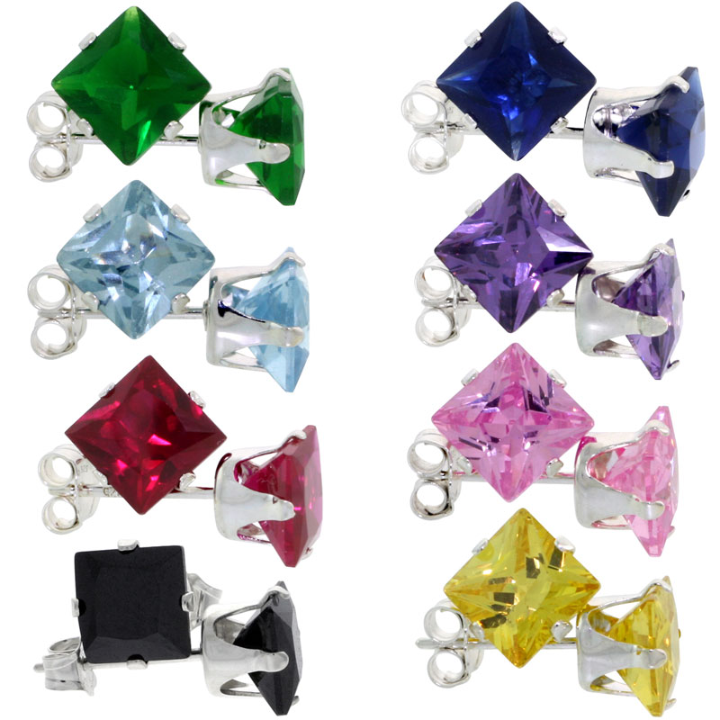 8 pair set Sterling Silver Square Colored Cubic Zirconia Stud Earrings 1 1/4 cttw Emerald, Blue Sapphire, Blue Topaz, Amethyst, Ruby, Pink, Black & Yellow