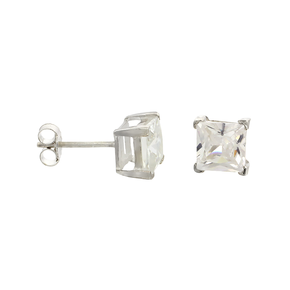 Sterling Silver Cubic Zirconia Square Earrings Studs 6 mm Princess cut Basket Setting 2.5 carats/pair
