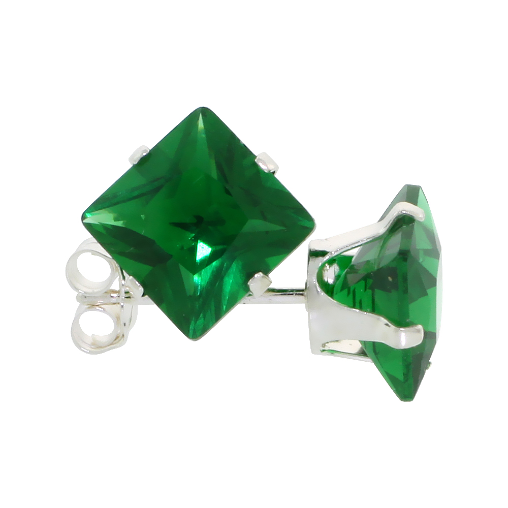 Sterling Silver Cubic Zirconia Square Emerald Earrings Studs 7 mm Princess cut Green Color 4 carats/pair