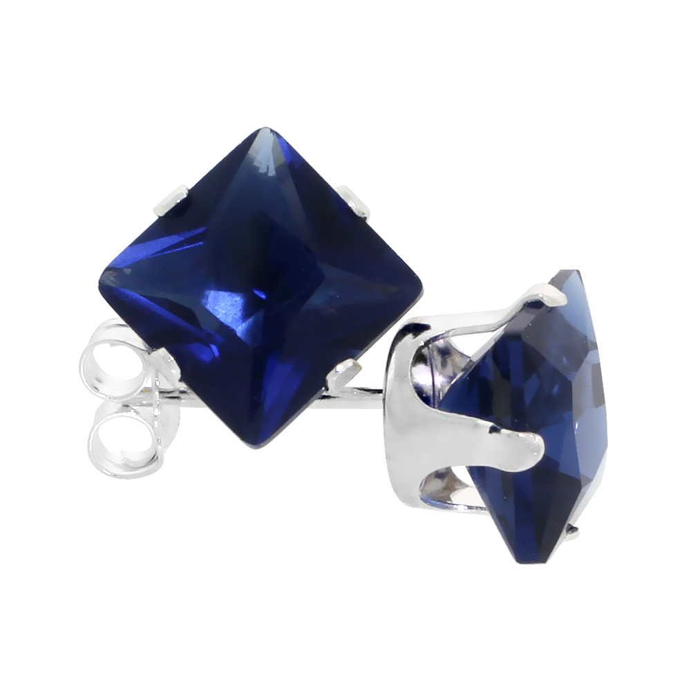 Sterling Silver Cubic Zirconia Square Sapphire Earrings Studs 7 mm Princess cut Navy color 4 carats/pair