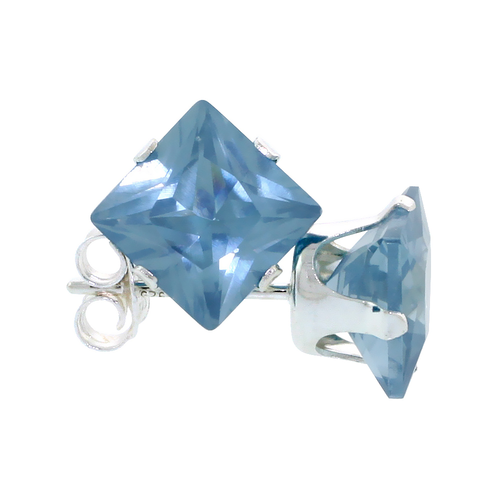 Sterling Silver Cubic Zirconia Square Blue Topaz Earrings Studs 7 mm Princess cut 4 carats/pair