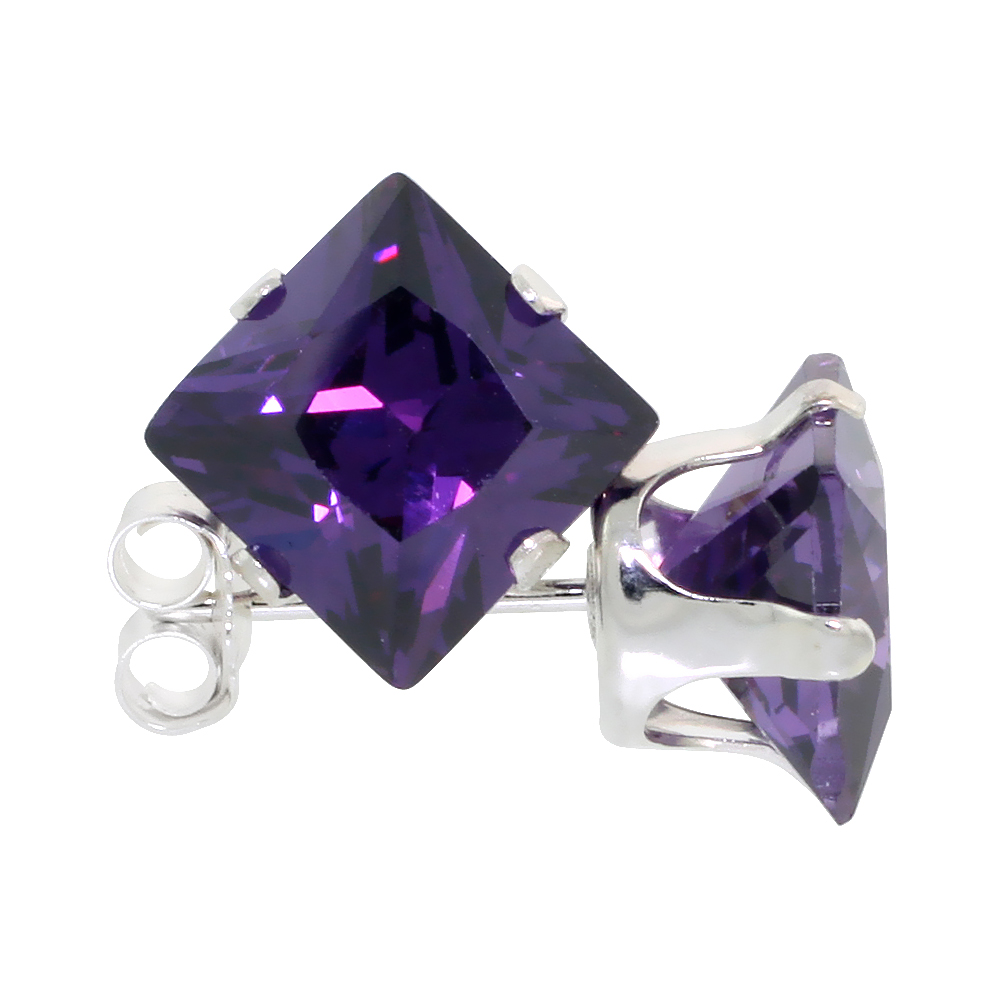Sterling Silver Cubic Zirconia Square Amethyst Earrings Studs 7 mm Princess cut Purple Color 4 carats/pair
