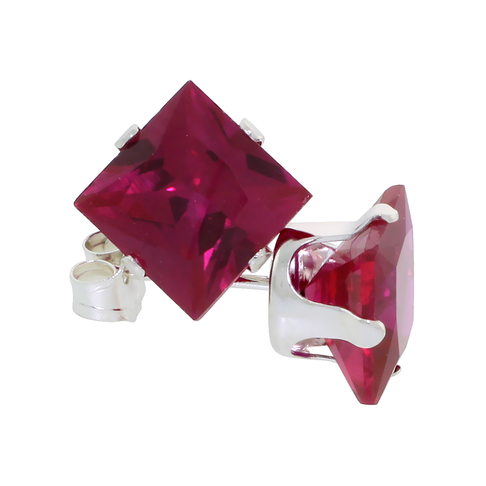Sterling Silver Cubic Zirconia Square Ruby Earrings Studs 7 mm Princess cut Red Color 4 carats/pair