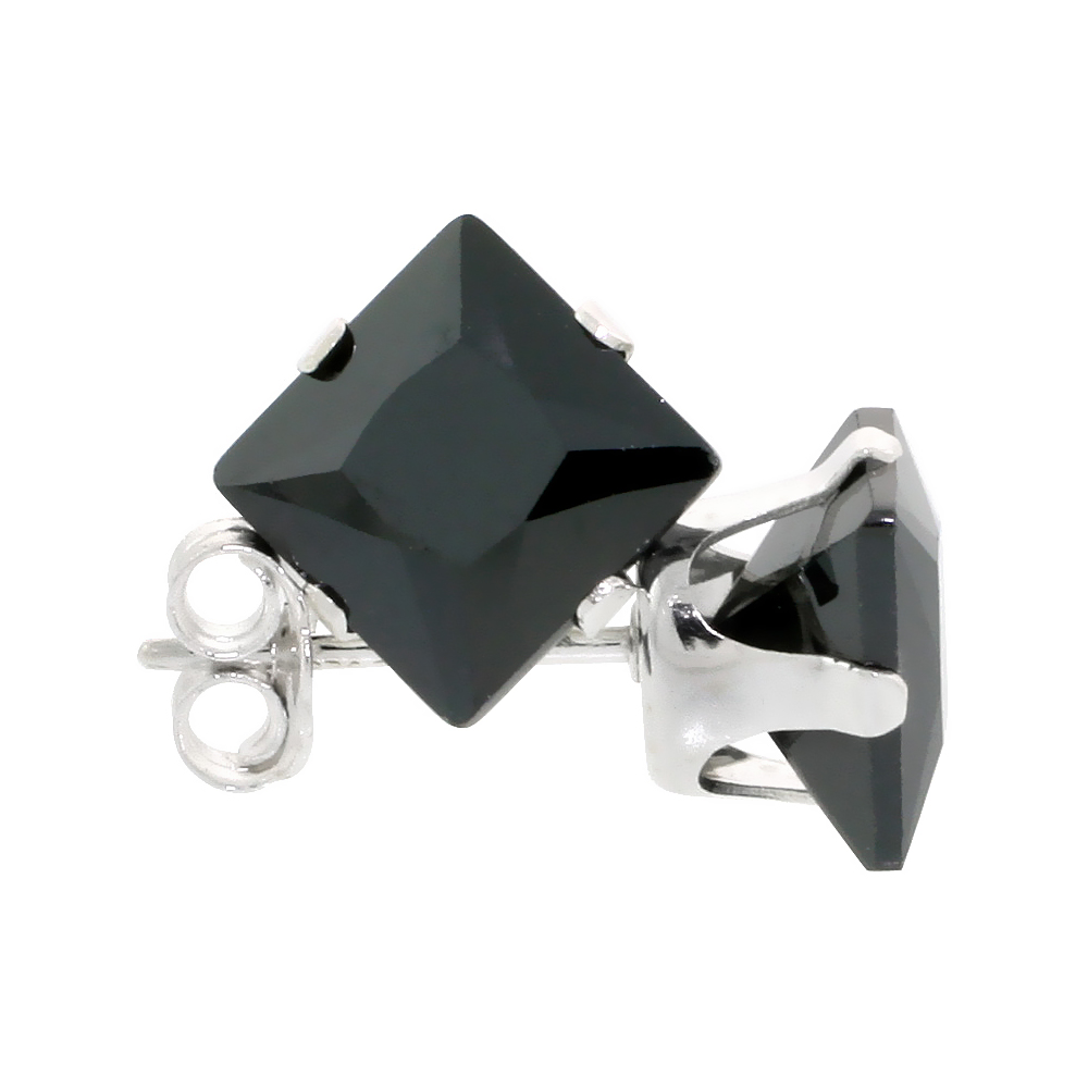 Sterling Silver Cubic Zirconia Square Black Earrings Studs 7 mm Princess cut 4 carats/pair