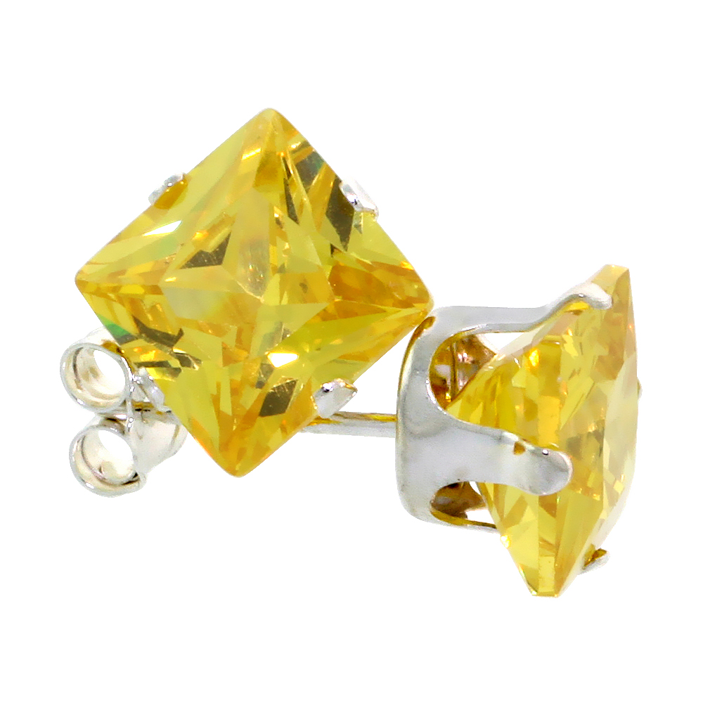 Sterling Silver Cubic Zirconia Square Citrine Earrings Studs 7 mm Princess cut Yellow 4 carats/pair
