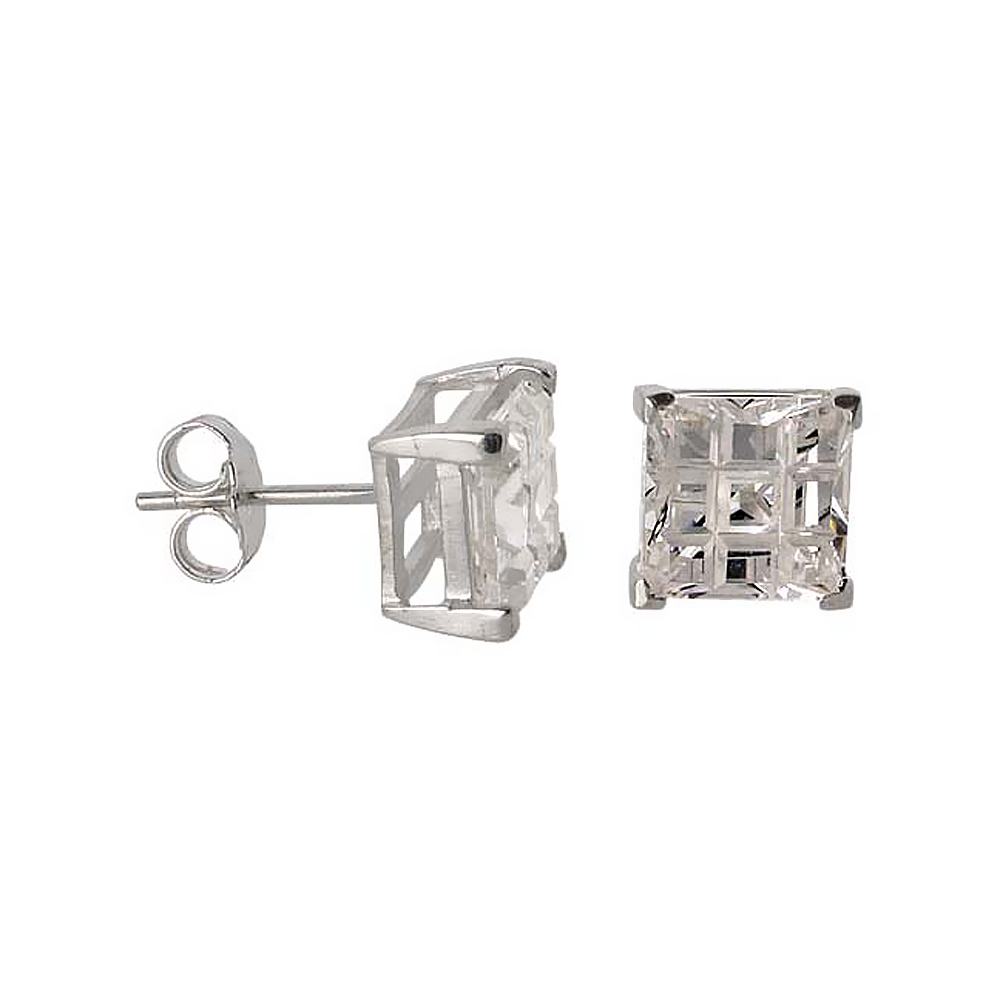 Sterling Silver Cubic Zirconia Invisible Cut Square Earrings Studs 8 mm Basket Set 6 carat/pair