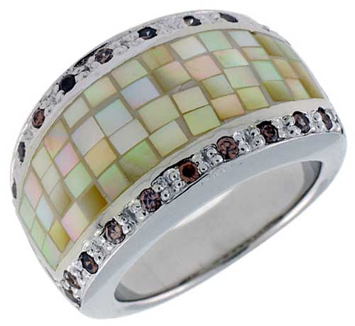 Sterling Silver Natural Shell Mosaic & CZ Outline Ring, 9/16 inch wide