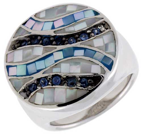 Sterling Silver Natural Shell Mosaic & CZ Ribbon Stripe Ring Round, 13/16 inch wide